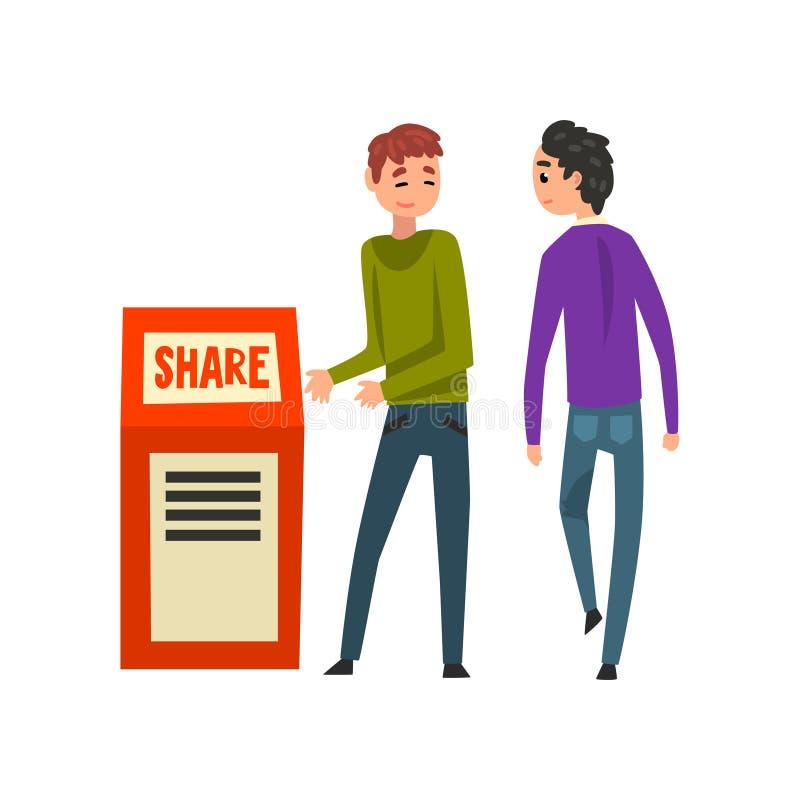 Męski advertiser, organizatora charakter promuje przy wektorem lub lub ilustracji