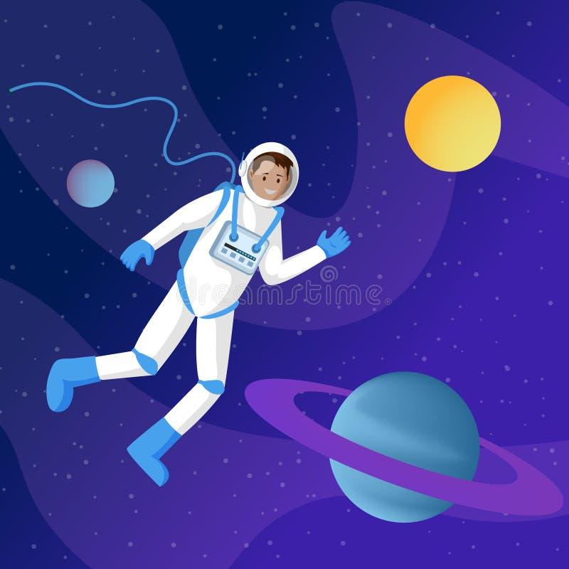 Męski astronauta w kosmos ilustracji Międzygwiazdowy podróżnik, kosmonauta unosi się w kosmos kreskówce w spacesuit royalty ilustracja