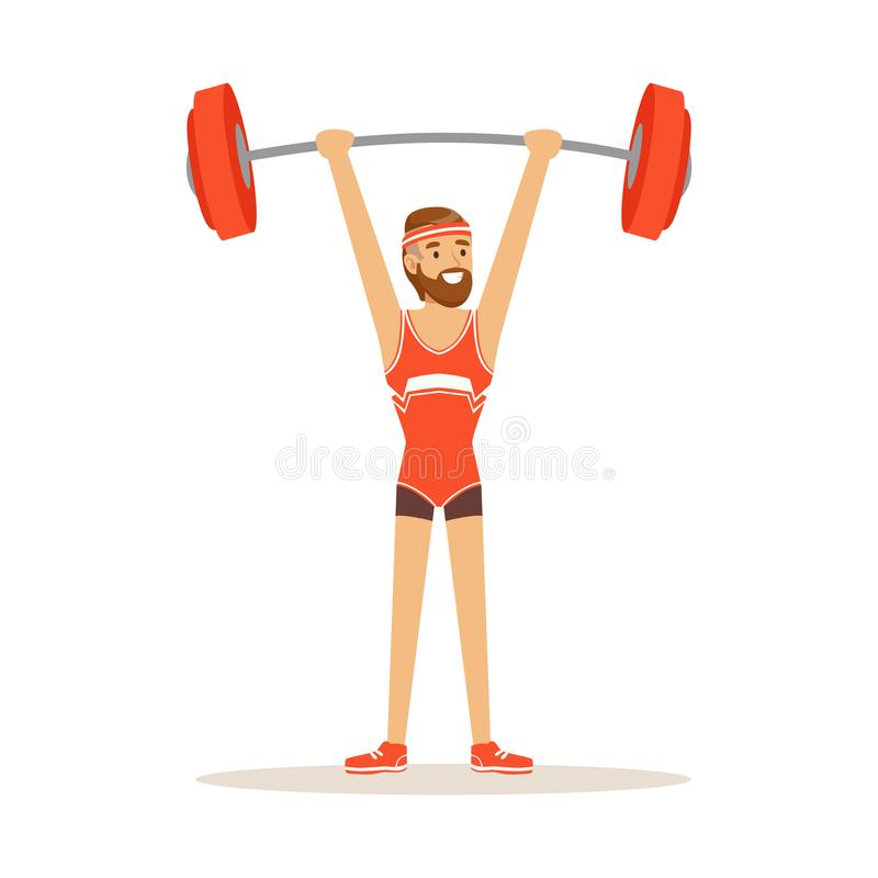 Męski atleta charakteru mienia barbell na nastroszonych rękach, aktywna sporta stylu życia wektoru ilustracja ilustracja wektor