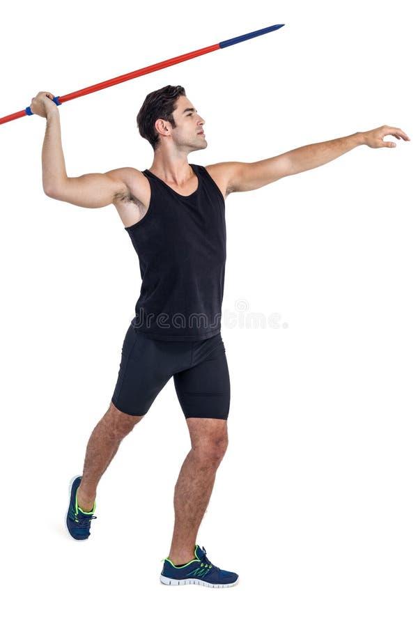 Męski atlety narządzanie rzucać dardę zdjęcia stock