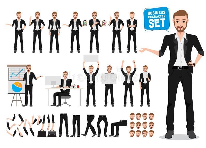 Męski biznesowy wektorowy charakter - set Biznesowego mężczyzny postaci z kreskówki tworzenie ilustracji
