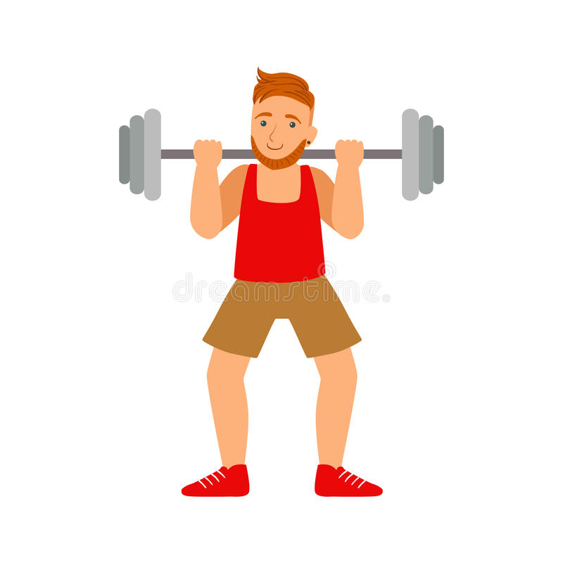 Męski bodybuilder ćwiczy z barbell Kolorowy postać z kreskówki ilustracja wektor