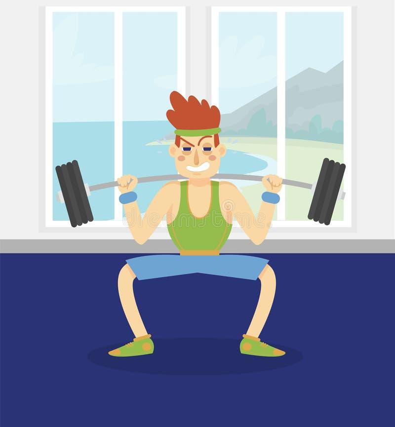 Męski bodybuilder ćwiczy z barbell, obsługuje pracującego out w sprawność fizyczna klubie lub gym wektorowej ilustraci, kreskówka ilustracji