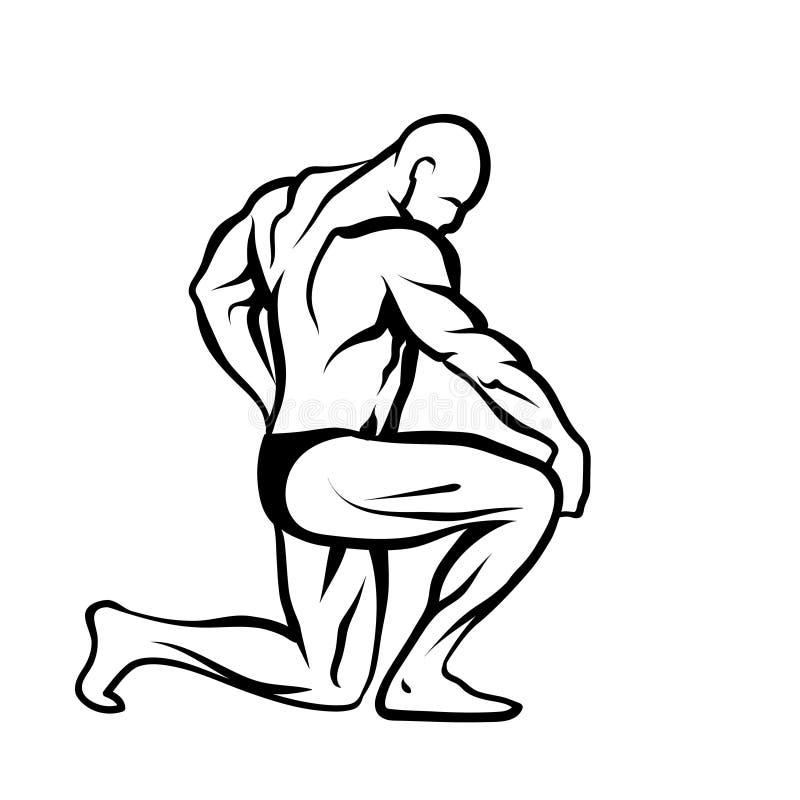 Męski bodybuilder ilustracji