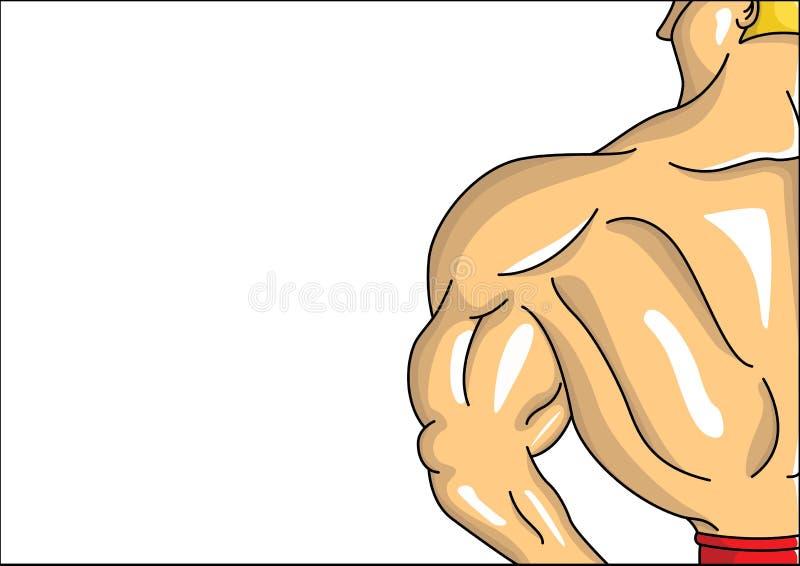 Męski Bodybuilder od tylnej wektorowej ilustracji royalty ilustracja