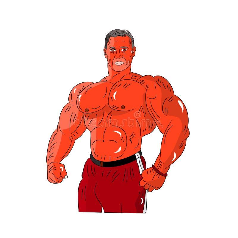 Męski bodybuilder pomarańcze styl, silni mięśnie, kreskówka na whi ilustracja wektor