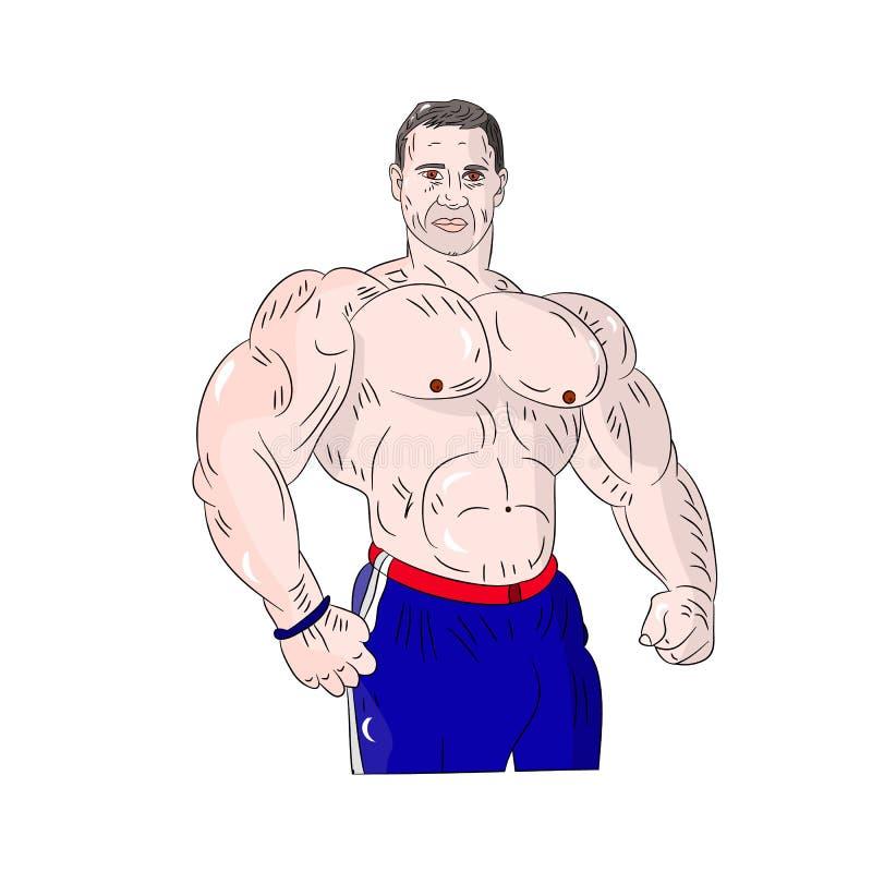 Męski bodybuilder, silni mięśnie, kreskówka na białym tle ilustracja wektor