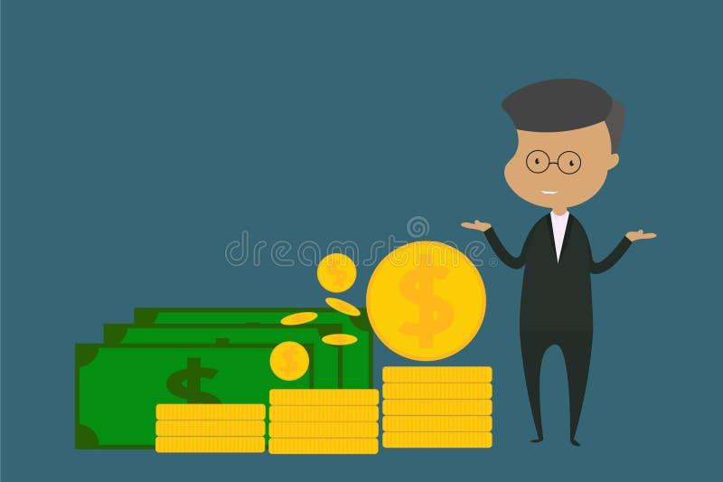 Męski charakter jest ubranym czarną kostium pozycję Pojęcia mieszkania stylu wektorowa ilustracja o finansowej inwestycji i bizne obrazy stock