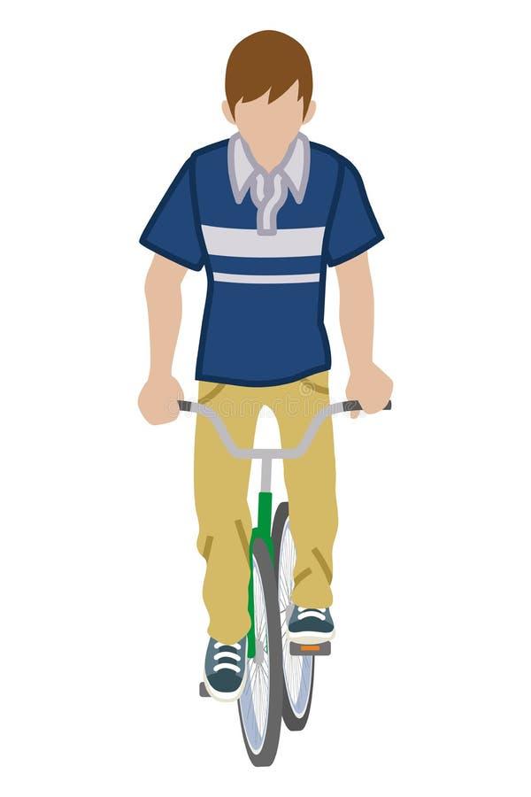 Męski cyklista - Frontowy widok royalty ilustracja