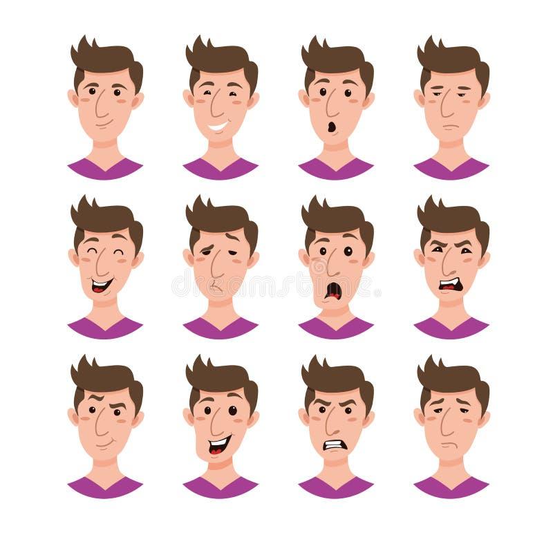 Męski emoji postać z kreskówki ilustracji