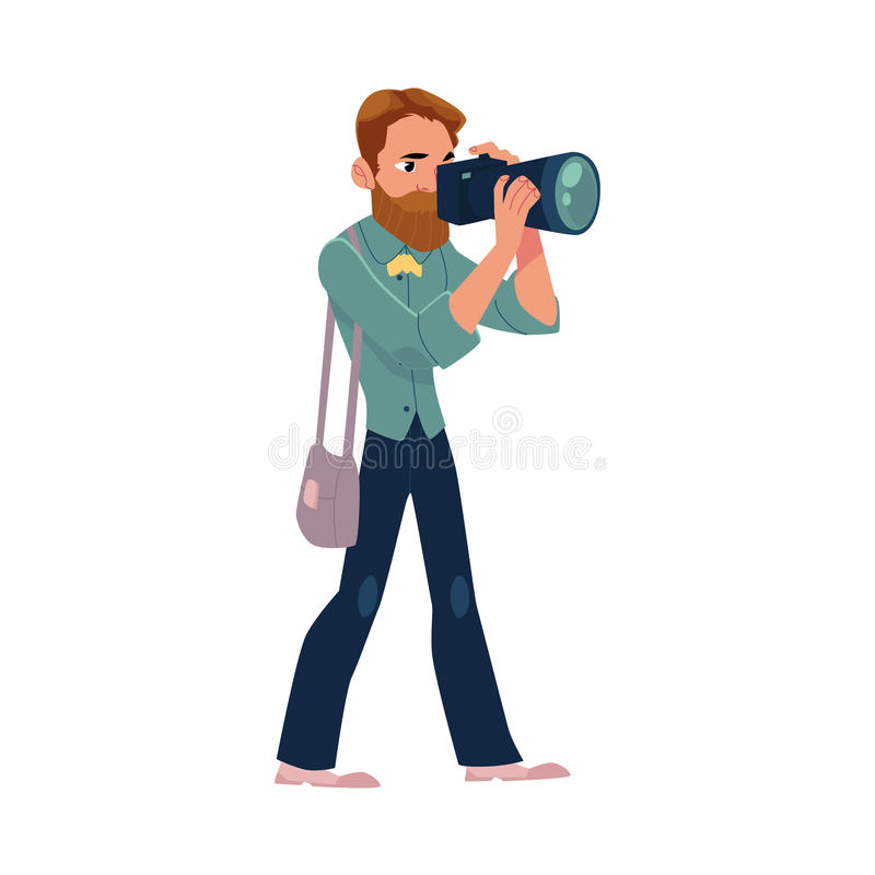 Męski fotograf, kamera mężczyzna przy pracą bierze obrazki, strzela royalty ilustracja