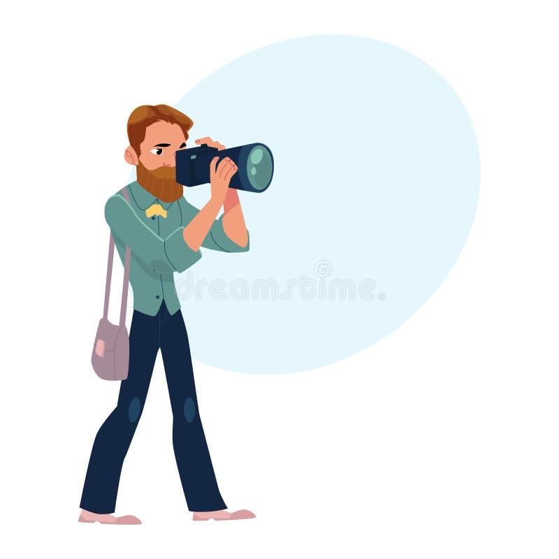 Męski fotograf, kamera mężczyzna przy pracą bierze obrazki, strzela ilustracja wektor