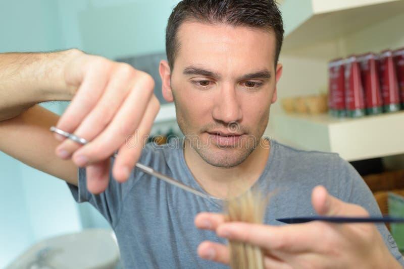 Męski fryzjera arymażu włosy zdjęcie stock