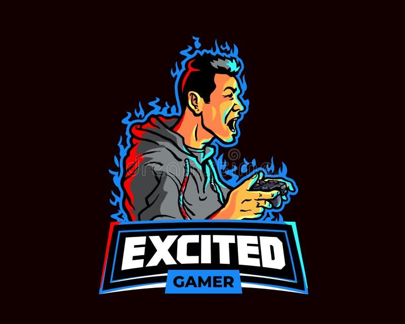 Męski Gamer wrzask w podniecenia Esport kreskówki logo Gemowej maskotce royalty ilustracja