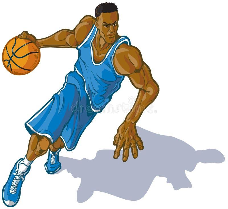 Męski gracz koszykówki Drybluje Balową Wektorową ilustrację ilustracji