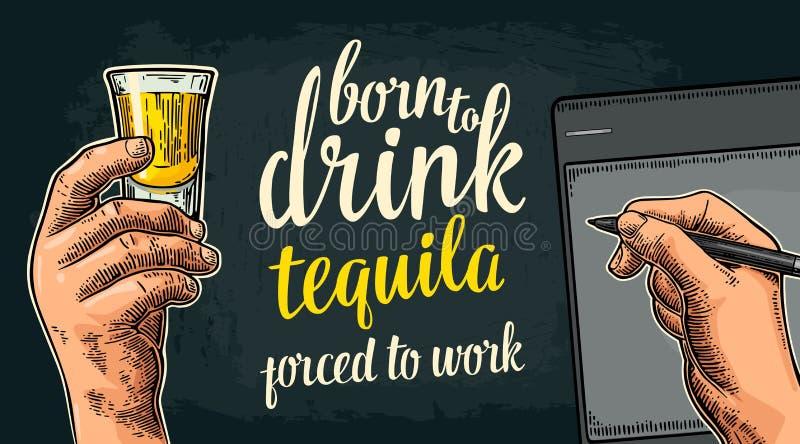 Męski handw trzyma szkło i stylus Urodzony pić tequila royalty ilustracja