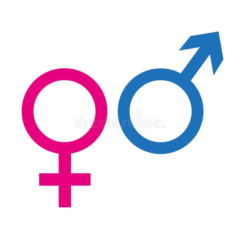 Męski i żeński ikona symbol odizolowywający na białym tle royalty ilustracja