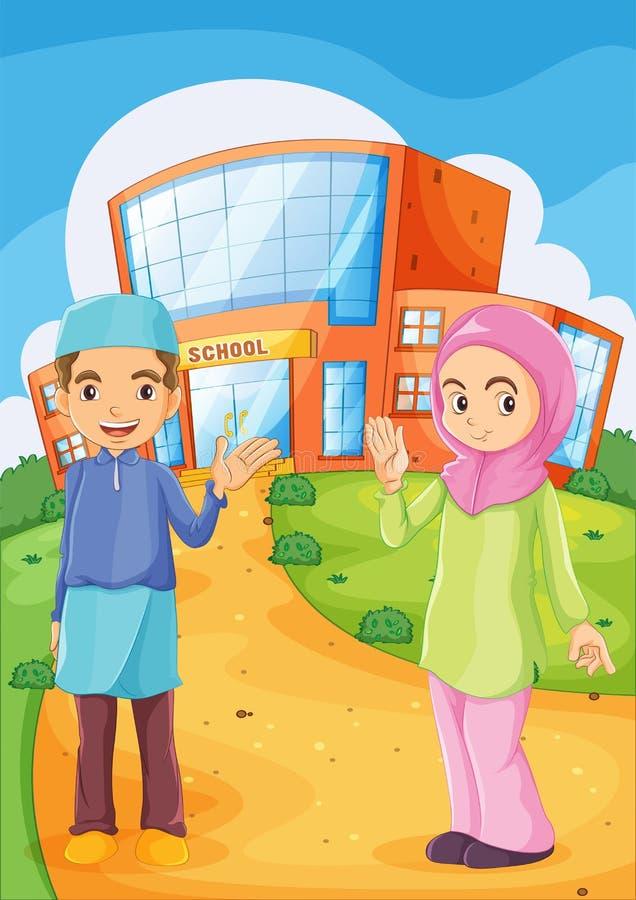Męski i żeński muzułmanin przed budynkiem szkoły royalty ilustracja