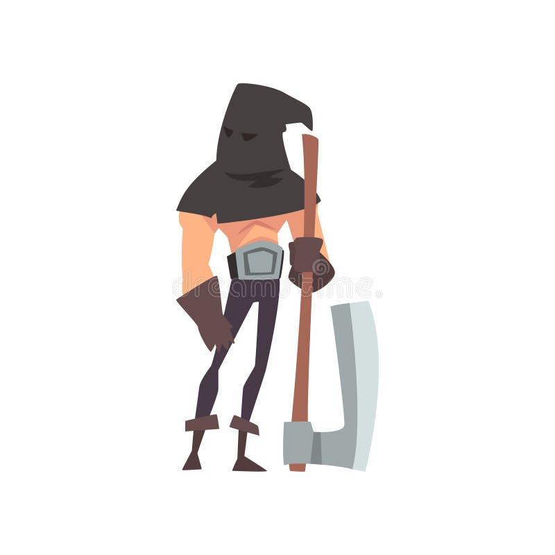 Męski kat z Czarnym Headwear i cioska, Średniowieczna Dziejowa postać z kreskówki w Tradycyjnym Kostiumowym wektorze royalty ilustracja