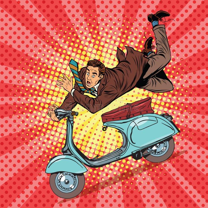 Męski kierowcy wypadek na hulajnoga royalty ilustracja