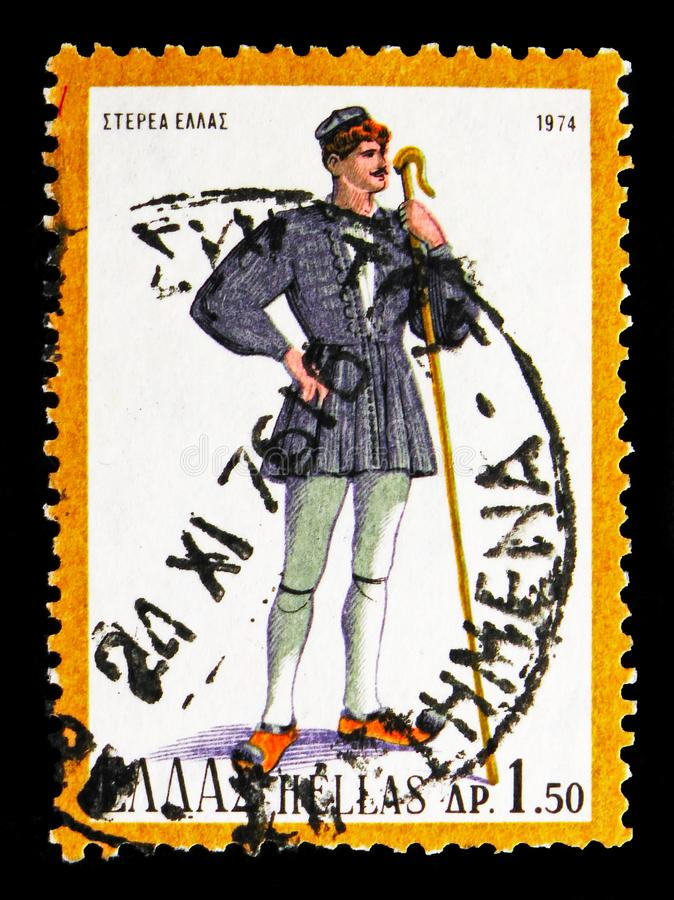 Męski kostium od stałego lądu Grecja, Krajowy kostiumu seria, circ obrazy royalty free
