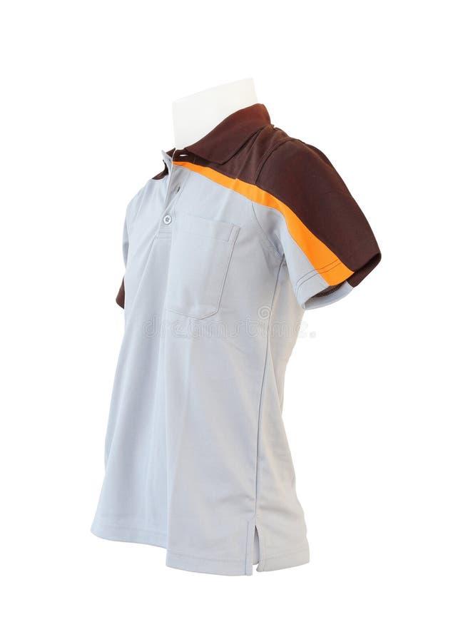 Męski koszulowy szablon na mannequin na białym tle zdjęcie stock