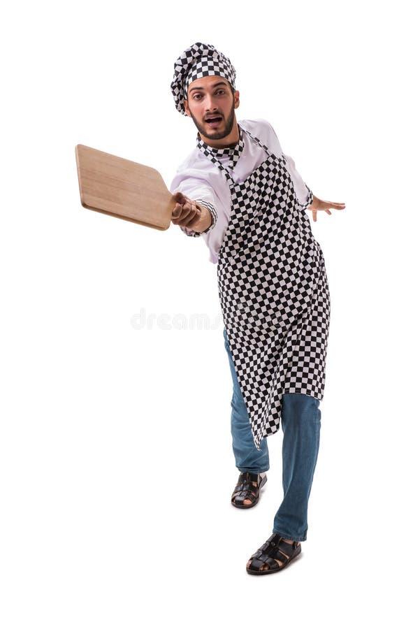 Męski kucharz odizolowywający na białym tle obraz stock