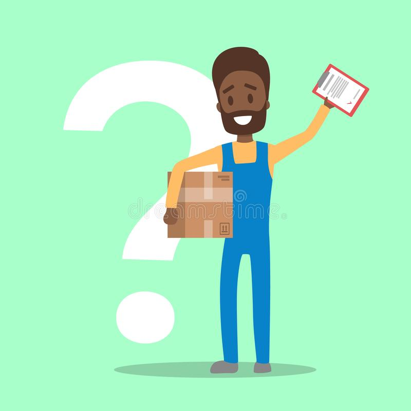 Męski kurier w jednolitym mienia pudełku, schowku i ilustracji