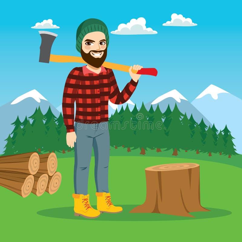 Męski Lumberjack Na lesie ilustracji