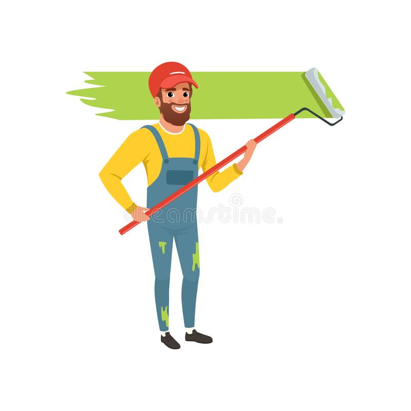 Męski malarz maluje ścianę z rolkową farbą w mundurze, domowego odświeżania pojęcia wektorowa ilustracja na bielu ilustracji