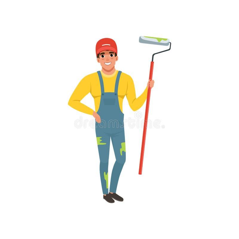 Męski malarz w mundurze z rolkową farbą, domowego odświeżania pojęcia wektorowa ilustracja na białym tle ilustracja wektor
