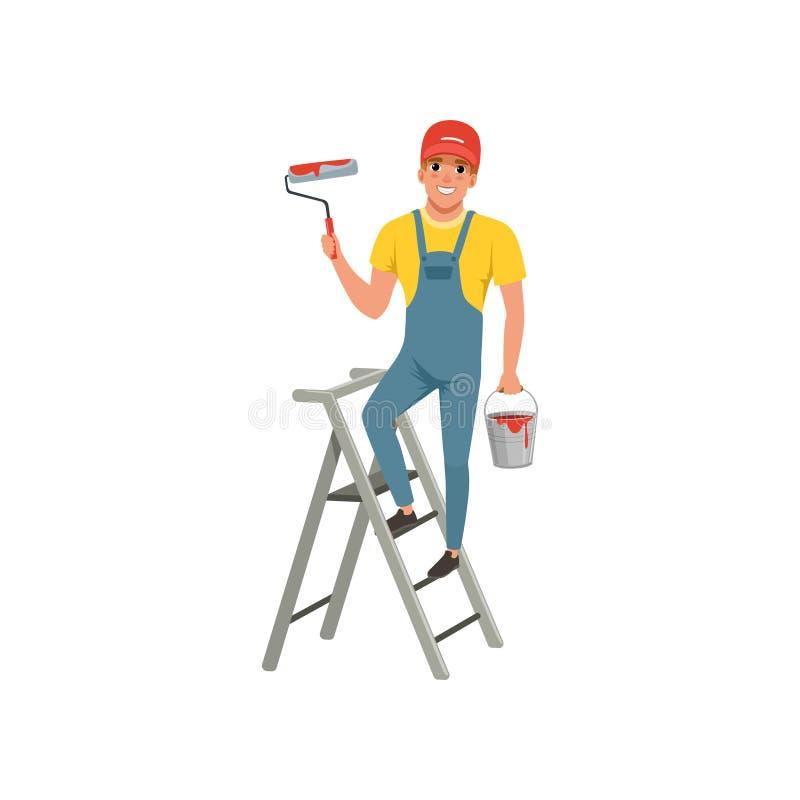 Męski malarz z rolownikiem w ręki pozyci na krok drabinie, domowego odświeżania pojęcia wektorowa ilustracja na bielu ilustracji