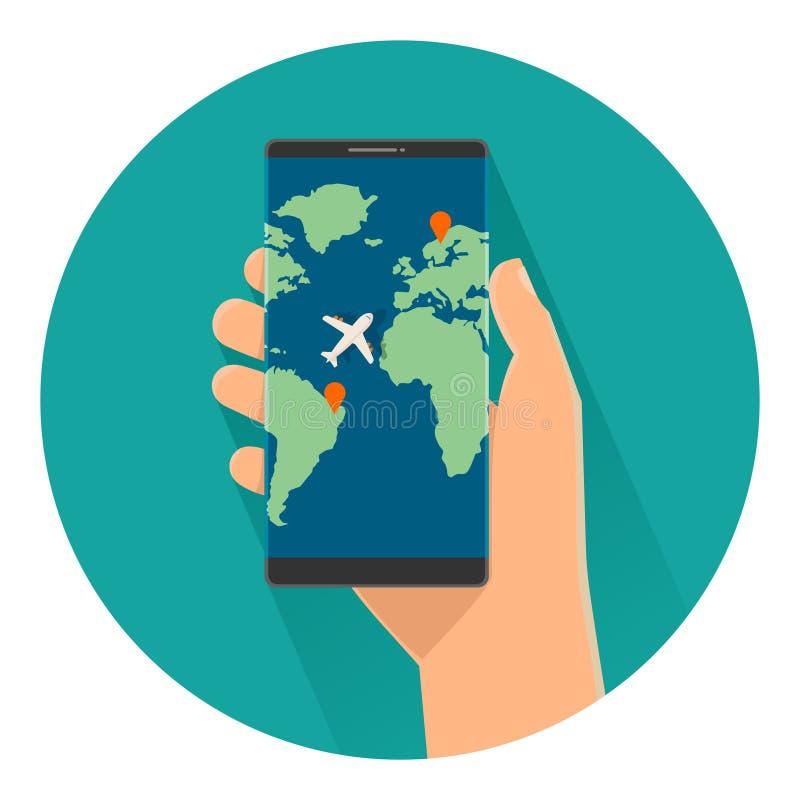 Męski mienia smartphone z z interfejs wiszącą ozdobą app dla trawel usługa na ekranie ilustracja wektor