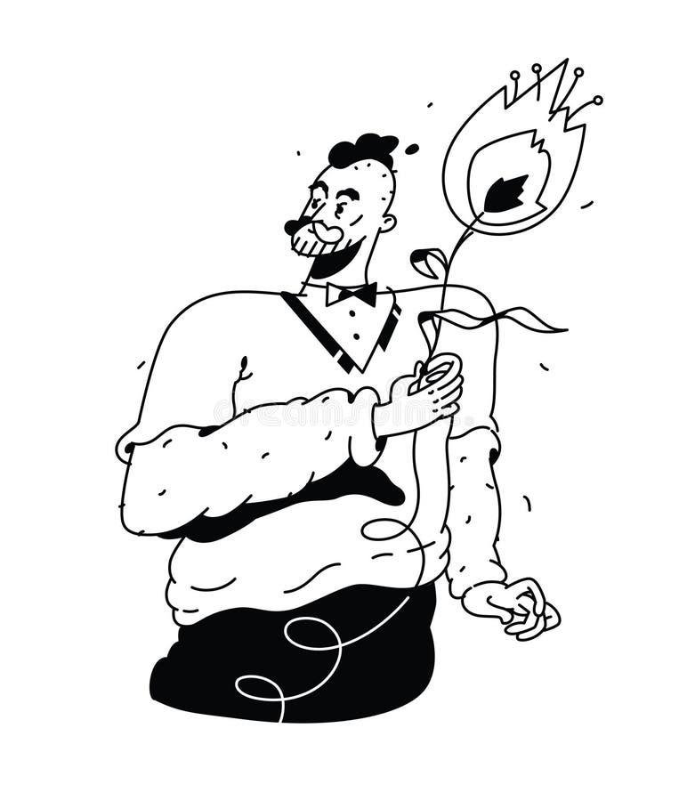 Męski modniś z tulipanowym kwiatem wektor Liniowy kreskówka rysunek styl retro Bombic charakter Gratulacje dla dam i ilustracja wektor