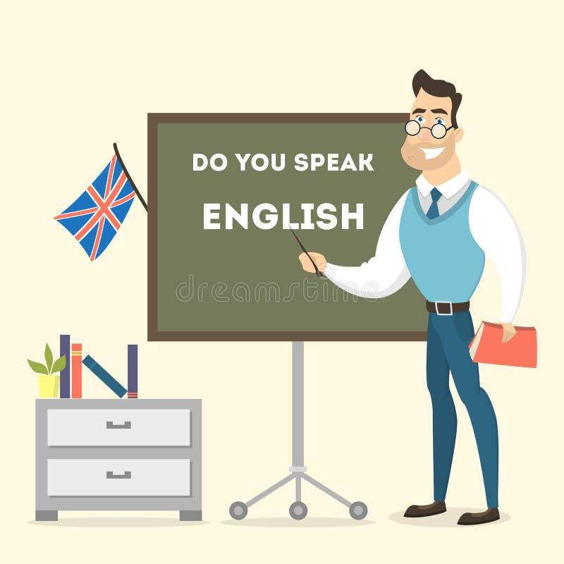 Męski nauczyciel angielskiego ilustracja wektor