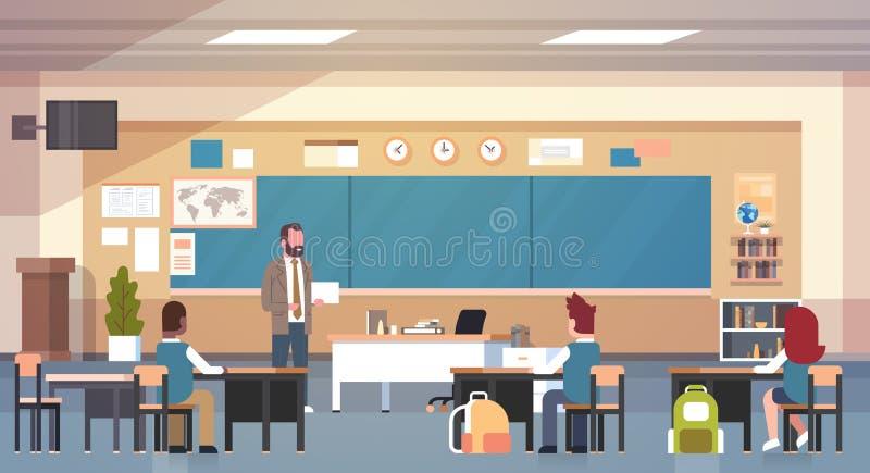 Męski nauczyciel I ucznie W sala lekcyjnej Na Lekcyjnego nauczania Szkolnej klasie ilustracji