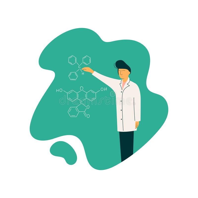 Męski naukowa profesora charakter Jest ubranym Białą żakiet pozycję przed Chalkboard z formułami Daje wykładowi royalty ilustracja