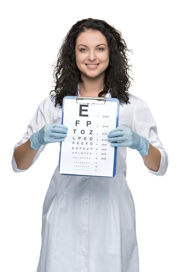 Męski oftalmolog z oko mapą zdjęcie stock