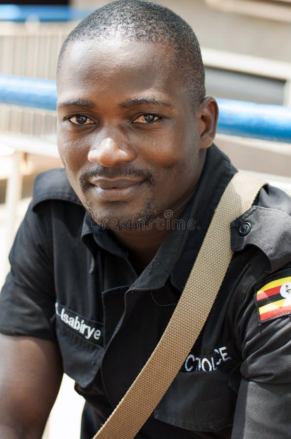 Męski pracownik ochrony, Kampala, Uganda zdjęcie stock