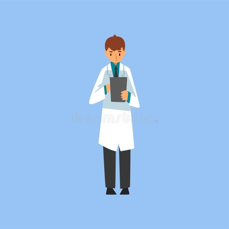 Męski profesjonalisty lekarki charakteru mienia schowek i Brać notatki na Nim, pracownik Medyczna klinika lub szpital wewnątrz royalty ilustracja