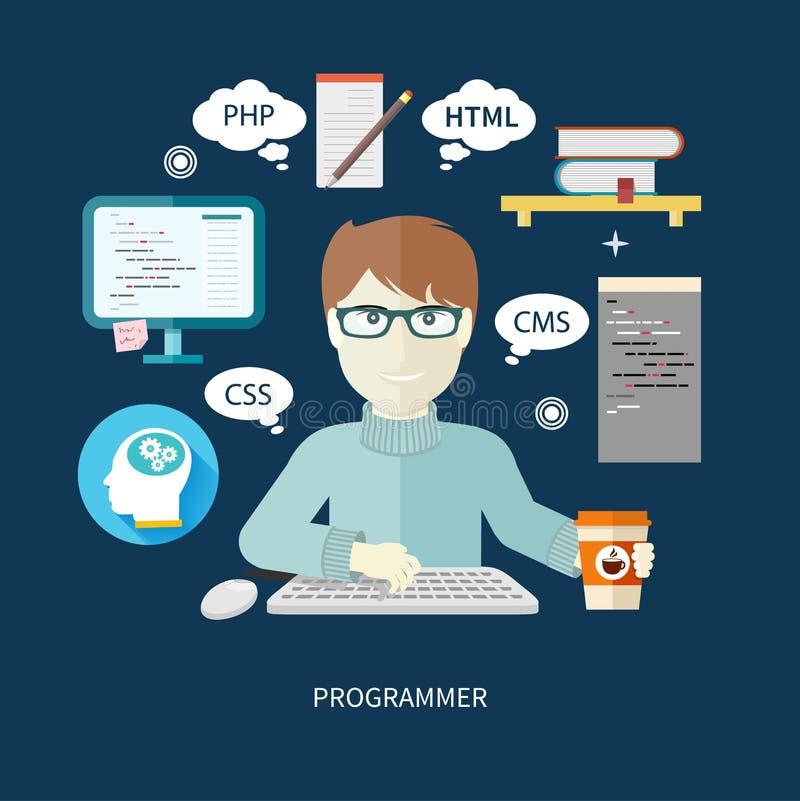 Męski programista z cyfrowymi przyrządami na miejscu pracy ilustracja wektor