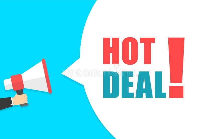Męski ręki mienia megafon z gorącym dylowym mowa bąblem głośnik Sztandar dla biznesu, marketingu i reklamy, ilustracji