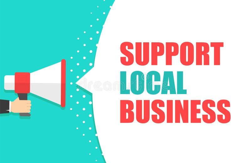 Męski ręki mienia megafon z poparcie mowy lokalnym biznesowym bąblem głośnik Sztandar dla biznesu, marketing i royalty ilustracja