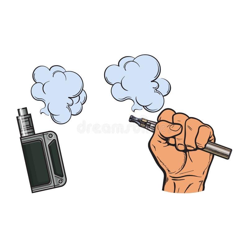 Męski ręki mienia papieros, elektroniczny papieros, opary, dymny nadchodzący out ilustracji