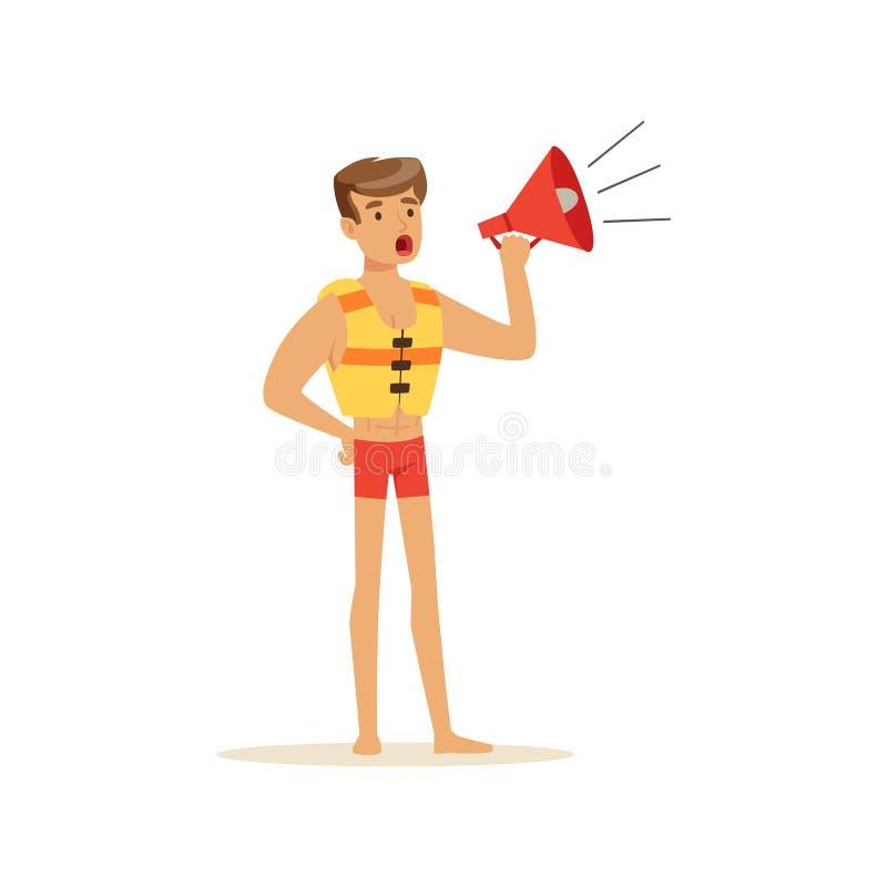 Męski ratownik w czerwieni zwiera krzyczeć megafonem, fachowy ratownik na plażowej wektorowej ilustraci ilustracji