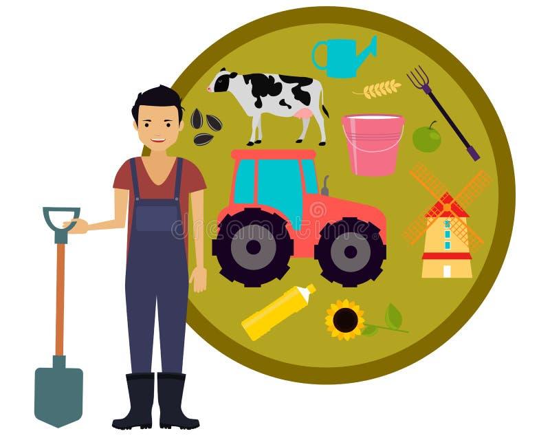 Męski rolnik ilustracji
