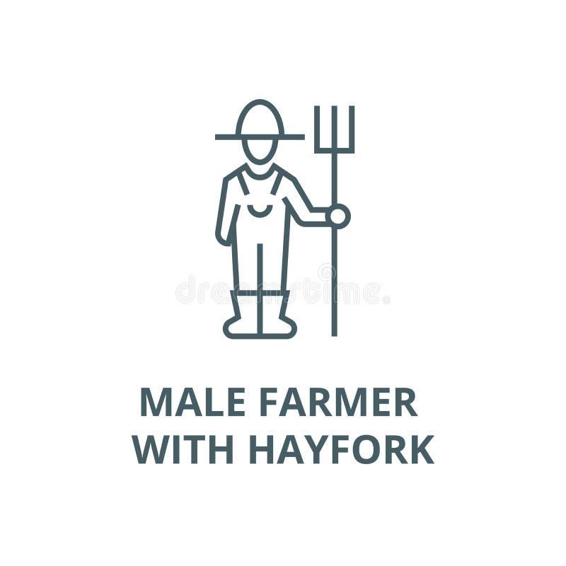 Męski rolnik z hayfork wektoru linii ikoną, liniowy pojęcie, konturu znak, symbol ilustracja wektor
