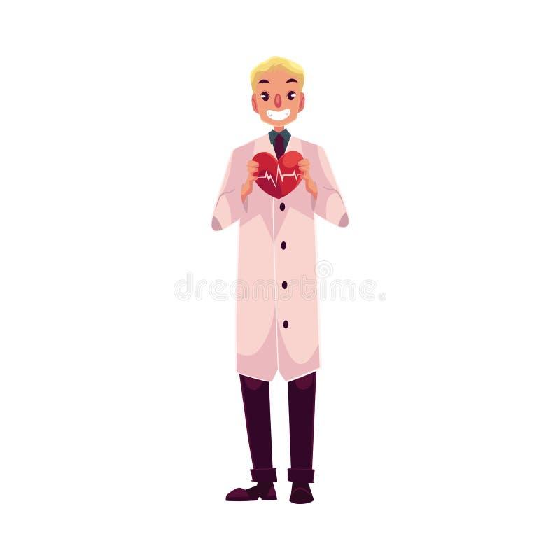 Męski sercowy chirurg w lab żakieta mienia sercu z pulsem royalty ilustracja