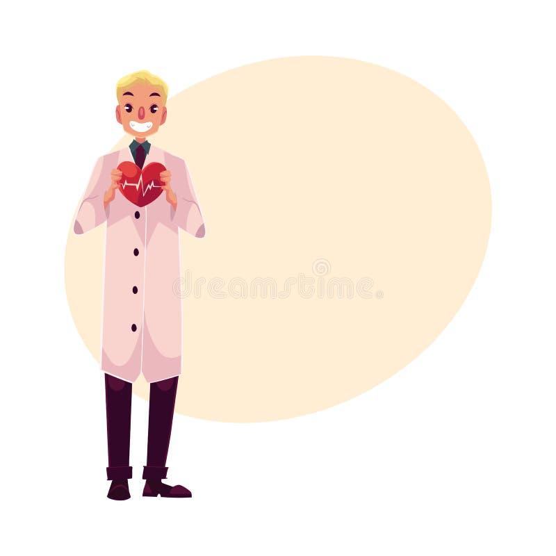Męski sercowy chirurg w lab żakieta mienia sercu z pulsem ilustracja wektor