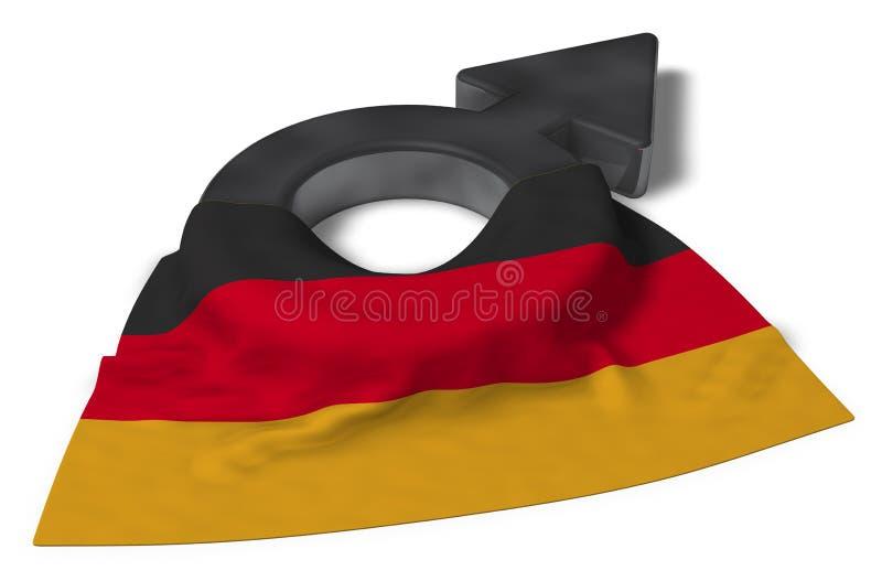 Męski symbol i flaga Germany royalty ilustracja
